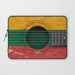 Old Vintage Acoustic Guitar with Lithuanian Flag Laptop Sleeve