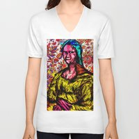 mona lisa V-neck T-shirts featuring Mona Lisa by Alec Goss