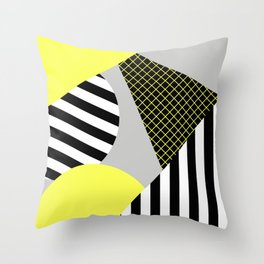 Eclectic Geometric - Yellow, Black And White Throw Pillow