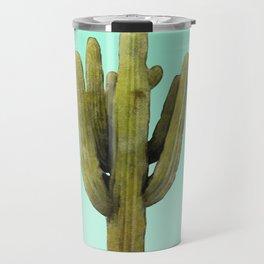 Cactus on Cyan Wall Travel Mug