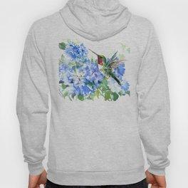 Hydrangea Flowers and Ruby Throat Hummingbird Hoody