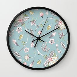 Floral Chintz on Teal Blue Background Wall Clock