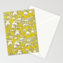 Grey and Yellow Rose Garden Stationery Cards