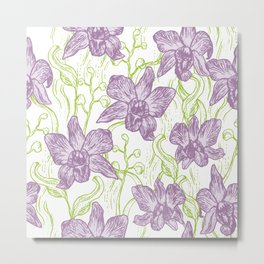 Orchid flowers. Hand drawn on white background olive Green pink purple contour sketch Metal Print