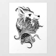 Inking Deer Art Print