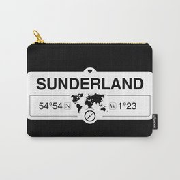 Sunderland England GPS Coordinates Map Artwork with Compass Carry-All Pouch