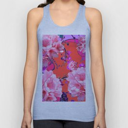 Delicate White & Pink Flower Blossoms Coral Art Unisex Tank Top