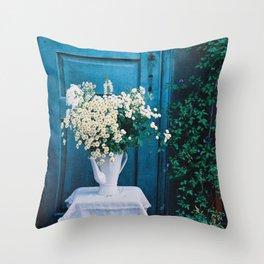 Blue chamomile Throw Pillow