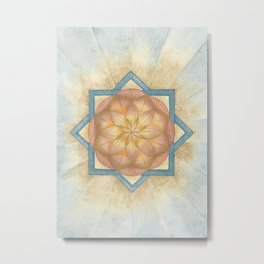 Golden & Blue Mandala Sacred Geometry Activation Metal Print