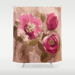 Painterly khaki and pink florals Shower Curtain