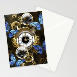 Steampunk Gears and Blue Butterflies Stationery Cards