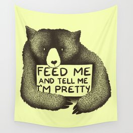 Feed Me And Tell Me I'm Pretty (Yellow) Wall Tapestry