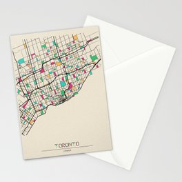 Colorful City Maps: Toronto, Canada Stationery Cards