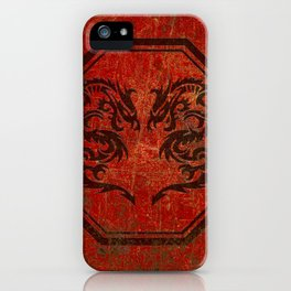 Distressed Dueling Dragons in Octagon Frame With Chinese Dragon Characters iPhone Case
