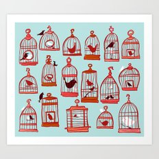 Bird Cages on Blue Art Print