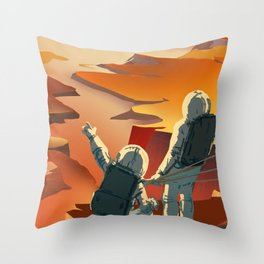 NASA Mars Recruitment Poster - Surveyors Wanted Throw Pillow