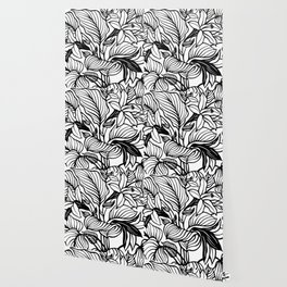 White Black Floral Minimalist Wallpaper