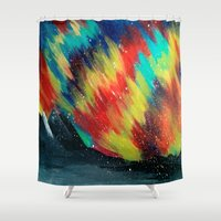northern lights Shower Curtains featuring Northern Lights by Chantalle Kryl Art