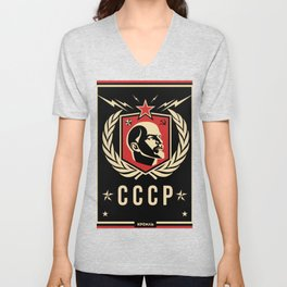 Emblem Lenin Face & CCCP Black Unisex V-Neck