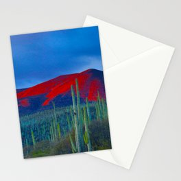 Green Cactus Field In The Desert With Red Mountains Blue Grey Sky Landscape Photography Stationery Cards