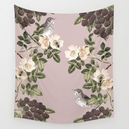 Birds and the Bees Pink Berry Wall Tapestry