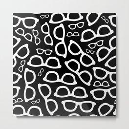 Smart Glasses Pattern - White on Black Metal Print