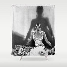 Fierce Josephine Baker Folies Bergère, Paris African American black & white photograph on Tiger Rug Shower Curtain