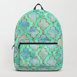 Luxury Aqua Teal Mint and Gold oriental quatrefoil pattern Backpack