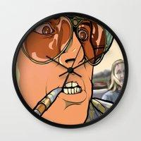 fear and loathing Wall Clocks featuring fear and loathing in las vegas by Megoer