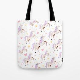 Rainbow Unicorns — Hearts & Stars Tote Bag