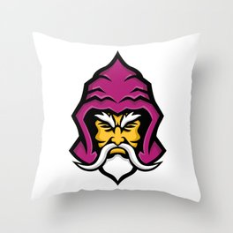 Wizard Head Front Mascot Throw Pillow