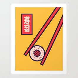 Sushi Minimal Japanese Food Chopsticks - Yellow Art Print