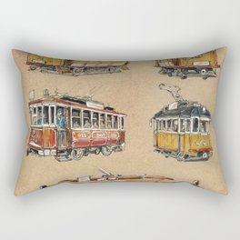 Old vintage yelow trams -nostagic pubic transport Rectangular Pillow
