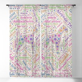Airedale Terrier Fun Dot Art and Word Pattern Sheer Curtain