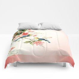 VINTAGE LOVE BIRDS | blush pink white Comforters