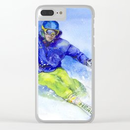 Watercolor skier, skiing illustration Clear iPhone Case