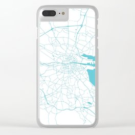 White on Turquoise Dublin Street Map Clear iPhone Case