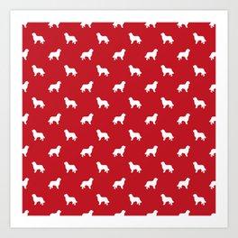 Bernese Mountain Dog pet silhouette dog breed minimal red and white pattern Art Print