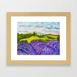 Lavender Fields Watercolor Framed Art Print