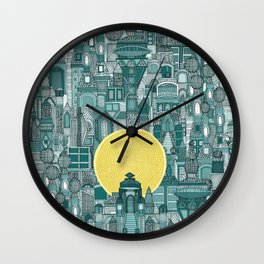 space city sun teal Wall Clock