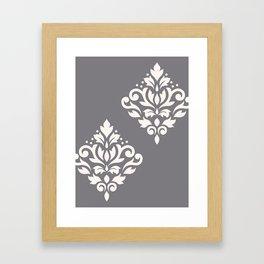 Scroll Damask Art I Cream on Grey Framed Art Print