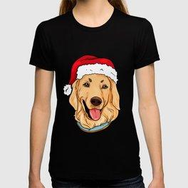 Golden Retriever Dog Christmas Hat Pre4sent T-shirt