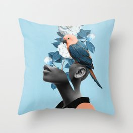 Girl with parrot Throw Pillow