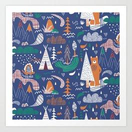 Bear camp Art Print