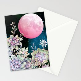 succulent full moon 3 Stationery Cards