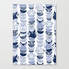 Swedish folk cats III // white background pale and navy blue kitties & bowls Canvas Print