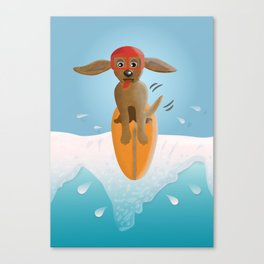Surf Dog on Top of the Wave Canvas Print