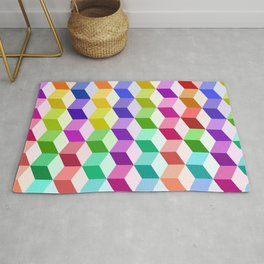 Cube Pattern Multicolored Rug