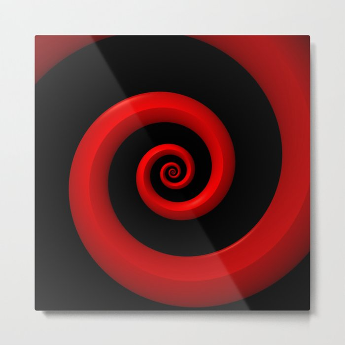 Red Spiral on Black Background Metal Print