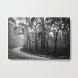 Misty Forest Path Metal Print